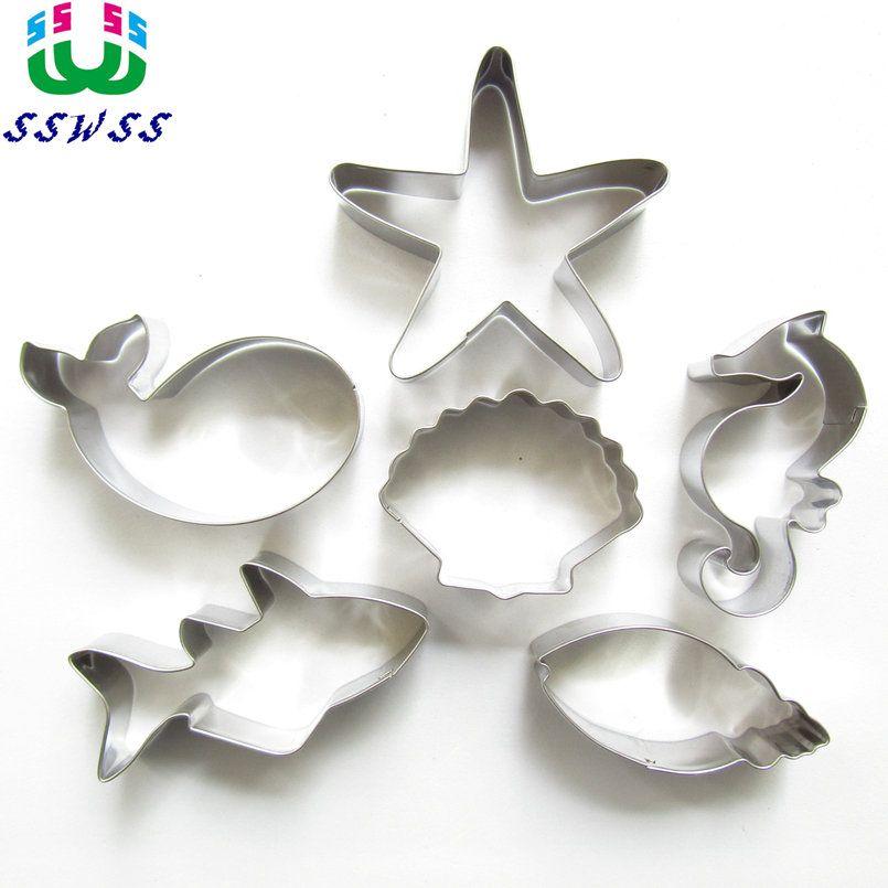 Starfish, Coquillage, Conque, Mer Cheval, Requin, Baleine, Six Mignon Charme Mer Créatures Forme Gâteau décoration, Outils De Cuisson, Vente Directe