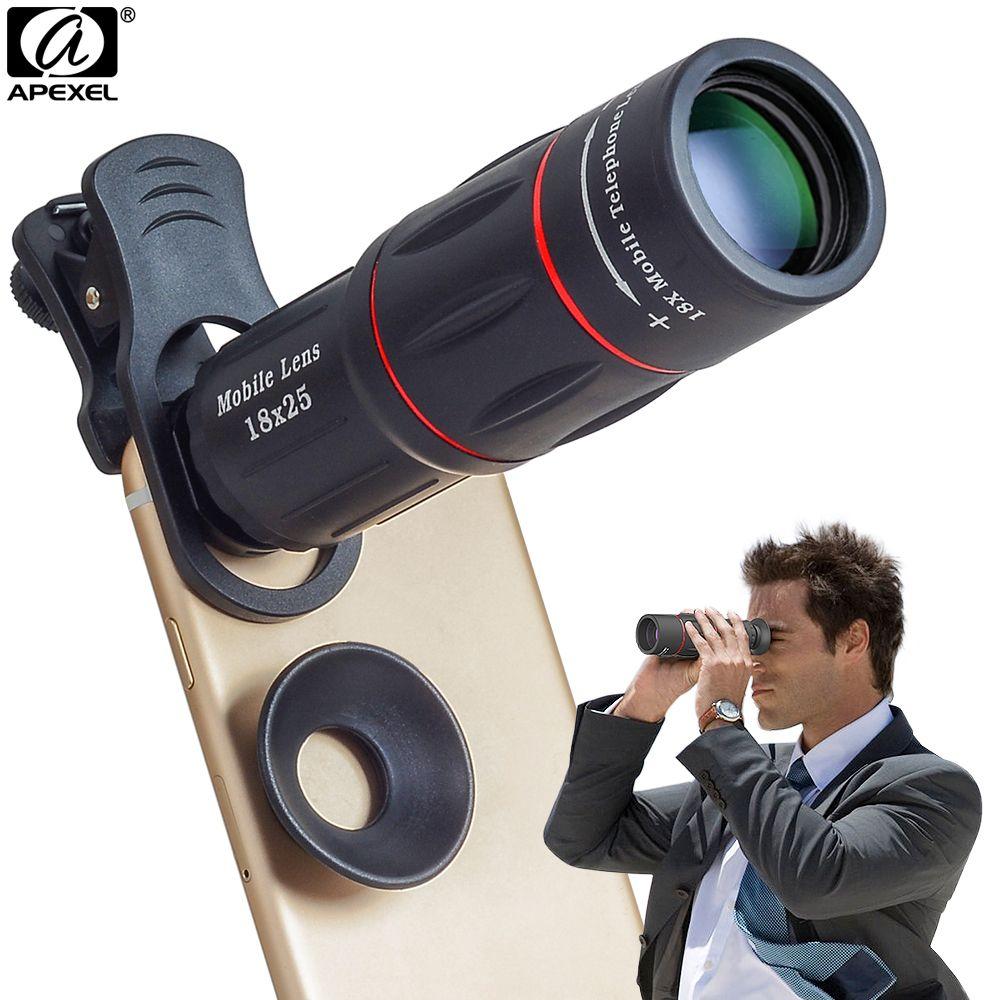 APEXEL Camera Lens 18X Télescope Zoom Télescope Mobile Téléphone Lentille Avec clips Universel pour iPhone Xiaomi Smartphones APL-18XT