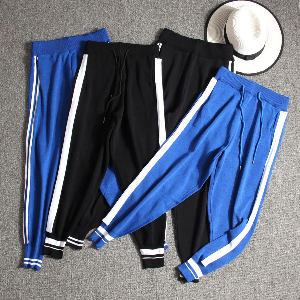 Autumn wear super-fire thin knit nine-cent trousers tight waistline casual student trousers Harlan pants sports pants