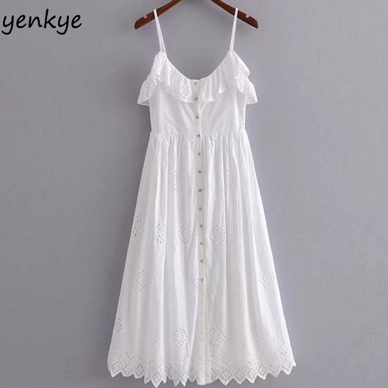 Weiß Sommer Sexy Riemenkleid Frauen Perforierte Stickerei Kleid Dame Rüschen V-ausschnitt Sleeveless A-line Party Langes Kleid HHWM1444