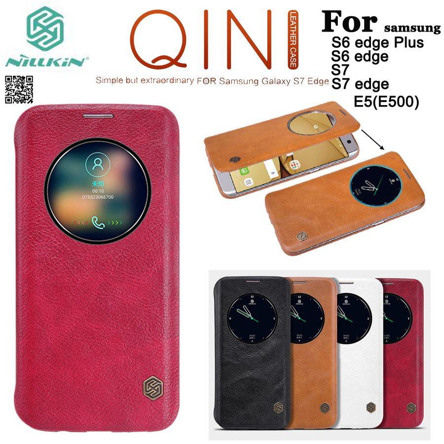 Nillkin Qin housse de protection en cuir véritable pour Samsung Galaxy S7/S7 edge/S6 Edge Plus/E5