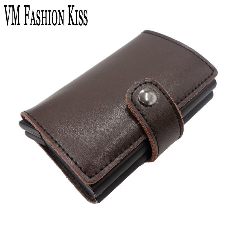VM Мода поцелуй предотвращает RFID утечки банковской карты случае Пояса из натуральной кожи мини-Сейф Алюминий антимагнитной кредитной карты ...