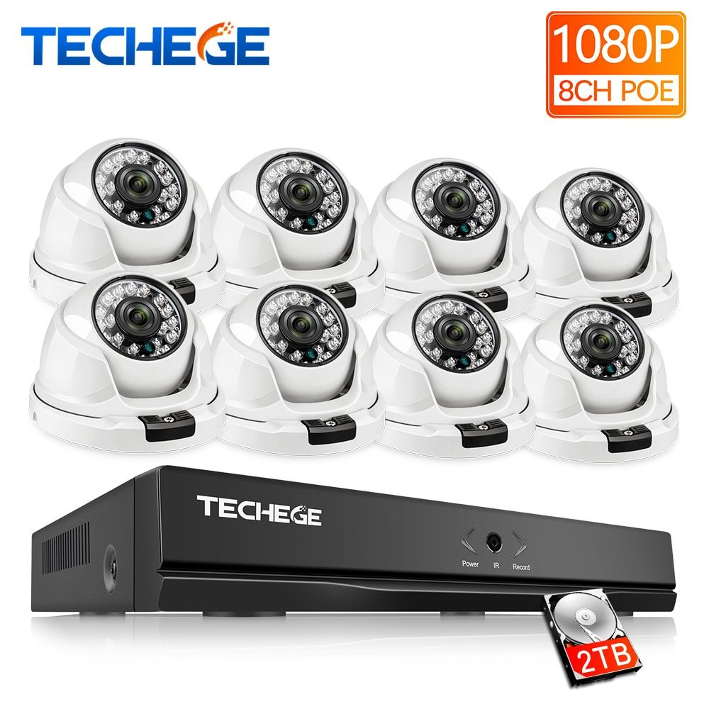 Techege 8CH 1080P POE NVR Video Surveillance Camera System 2MP HD Network IP Camera indoor Motion Detection CCTV NVR System
