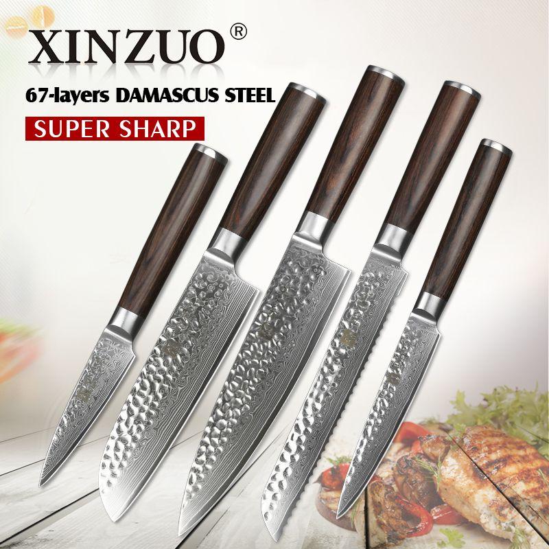 5 stücke küchenmesser set 67 schicht Japanischen VG10 damaststahl küchenmesser cleaver chef universalmesser pakkaholz griff