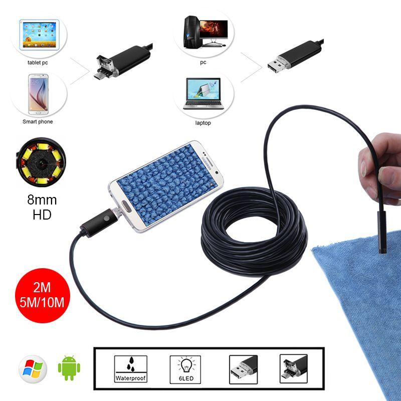 8mm HD 2 m 5 m 10 m D'or USB Android Endoscope Inspection Tube de Serpent Mini Endoscopio Caméra OTG IP67 Étanche Android Endoskop
