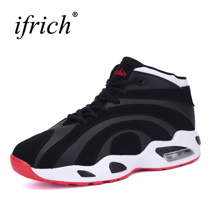 2017 New Couples Basketball Shoes Air Cushion Lace Up Male Basketball Boots Brand Women Sneakers High Top Athletic Trainers