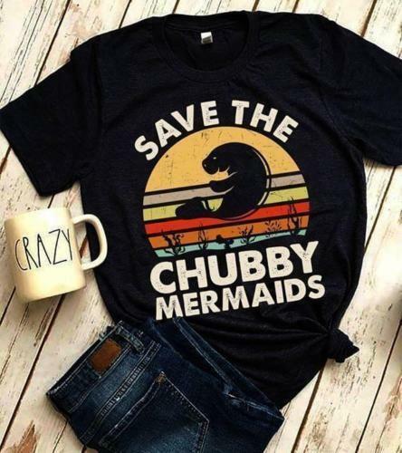 Meer Whale Sparen Die Mollig Meerjungfrauen Vintage Retro Schwarz T Hemd Männer S 4Xl