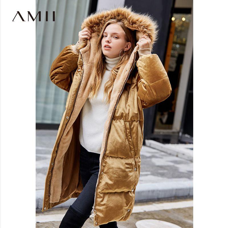Amii Minimalistischen Lange Unten Jacke Frauen Winter 2018 Elegante Solide Samt Fleece Pelz Kragen Weiße Ente Unten Lange Parkas Mantel