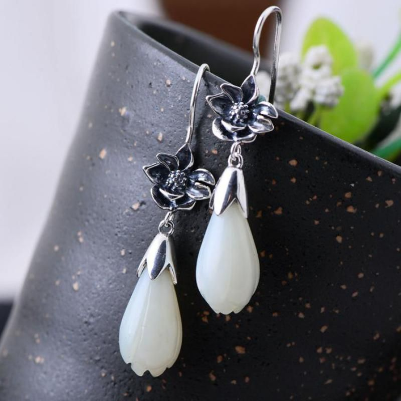 Real 925 Sterling Silver Magnolia Flower Drop Earrings Inlaid Natural White Jade Boucles D'oreilles Fantaisie Pendantes
