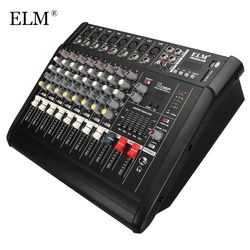 ELM Professional Karaoke Audio Sound Mixer 8 Channel Microphone Mixing Amplifier Console With USB Built-in 48V Phantom Power
