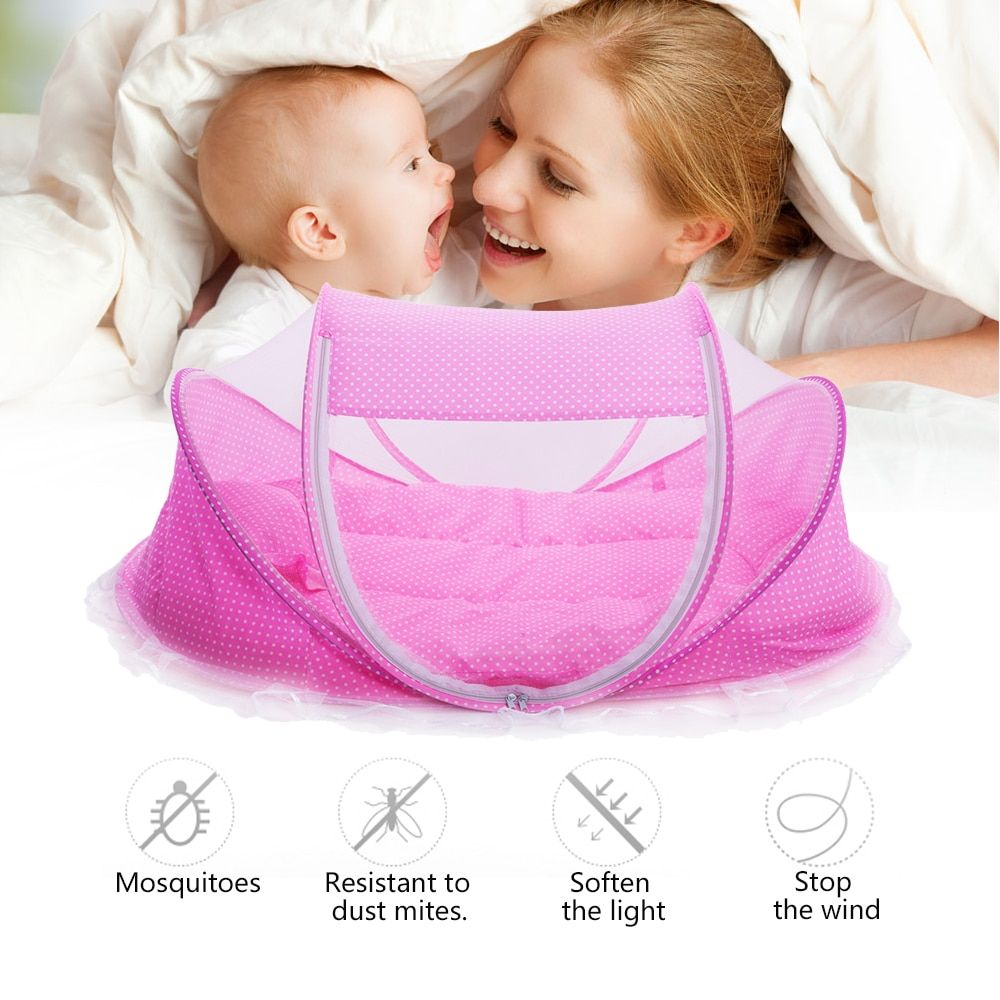 Lowest Price <font><b>Promotion</b></font> Cute Baby Crib 4pcs Portable Type Comfortable Babies Pad with Sealed Mosquito Net Baby Mosquito Net