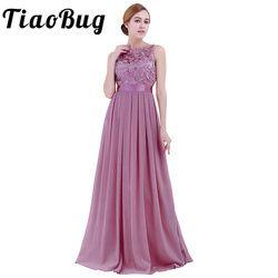 TiaoBug Lace Bridesmaid Dresses Long 2020 New Designer Chiffon Beach Garden Wedding Party Formal Junior Women Ladies Tulle Dress