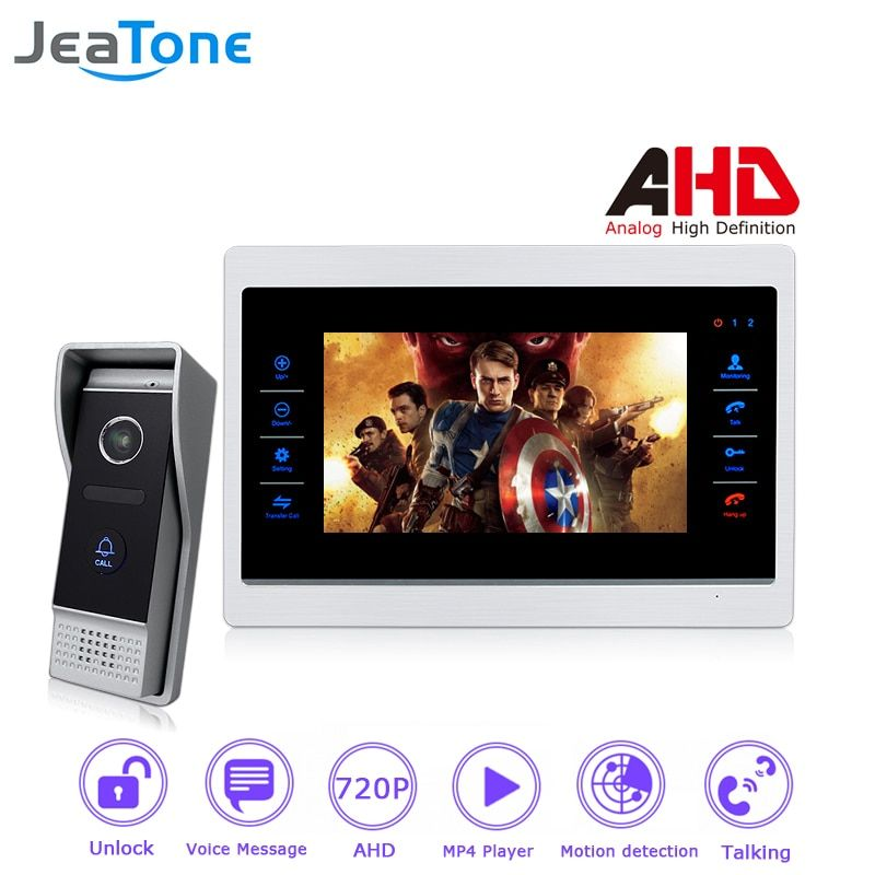 720P AHD 7 inch Video Door Phone Intercom Door Bell Door Speaker 4 Wired Hands-free Touch Button Monitor Motion Detection