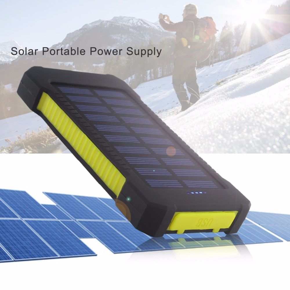 Big promotion Solar Panel Portable Waterproof Power Bank 10000mah Dual-USB Solar Battery PowerbankPortable Cell Phone Charger
