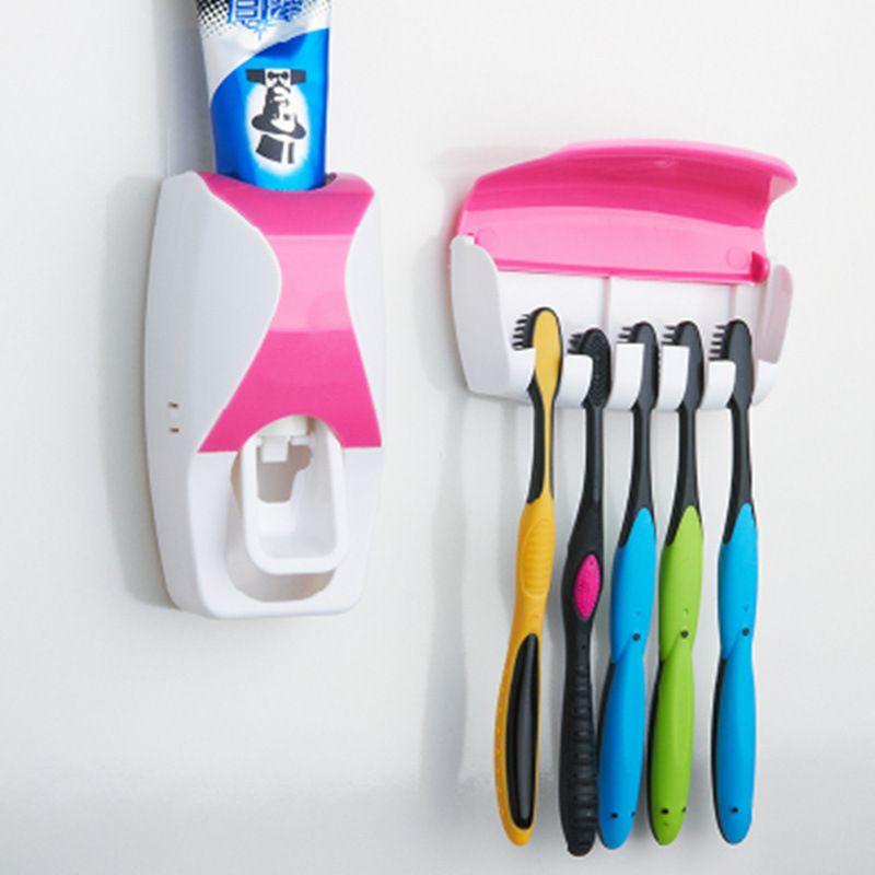 Высокое качество модные аксессуары для ванной комнаты, автоматическая Зубные пасты распределитель + Зубная щётка держатель Семейный компл...