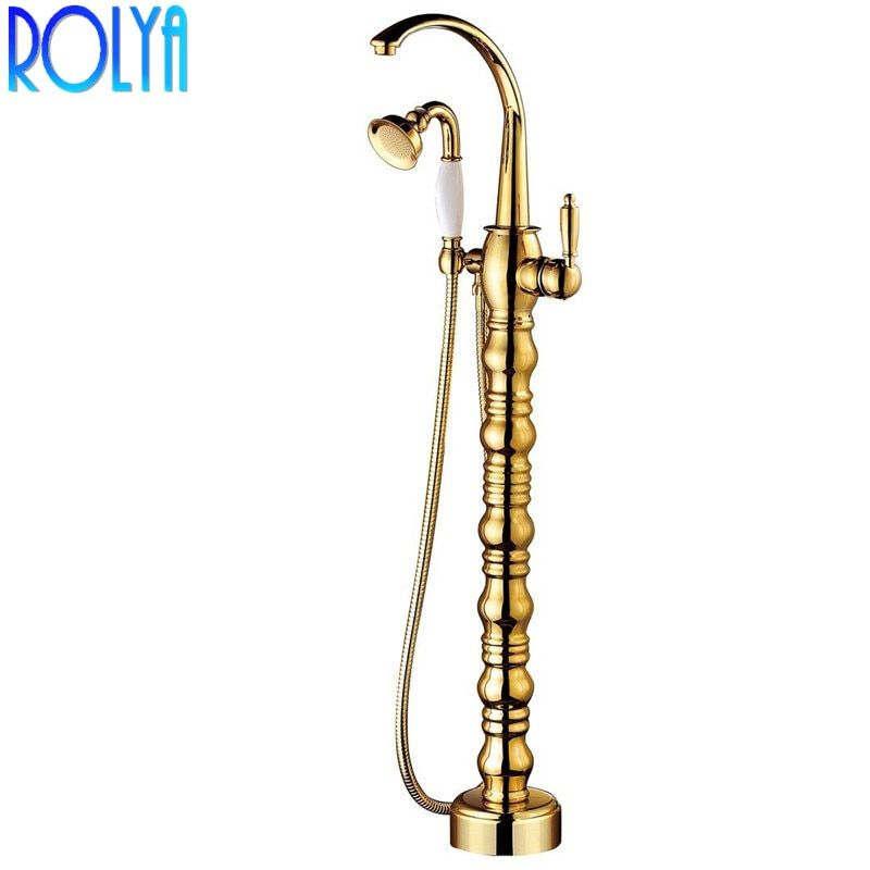 2018 Wholesale High Quality Luxury Gold Tap Floor Mounted Bathtub Shower Mixer Free Standing Bath Filler