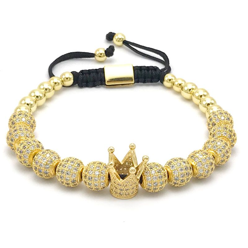 1 шт. Новый Дизайн Женская мода CZ императорская корона браслет с 8 мм золото-цвет Micro Pave CZ Для женщин плетение макраме браслет