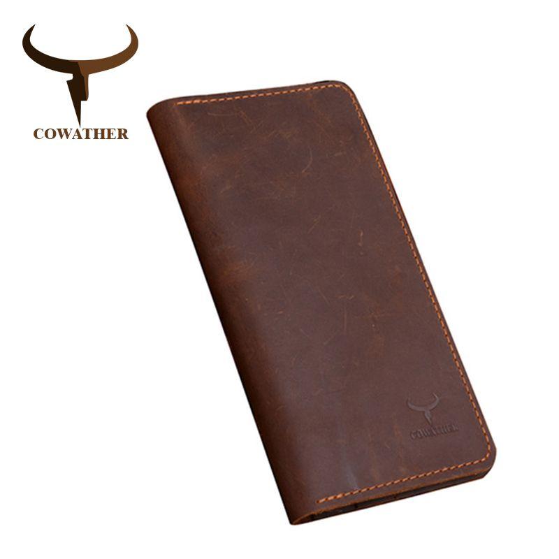 Cow-boy haute qualité vache véritable cheval fou en cuir hommes portefeuilles 2019 long style deux couleurs mode homme sac à main 103 livraison gratuite