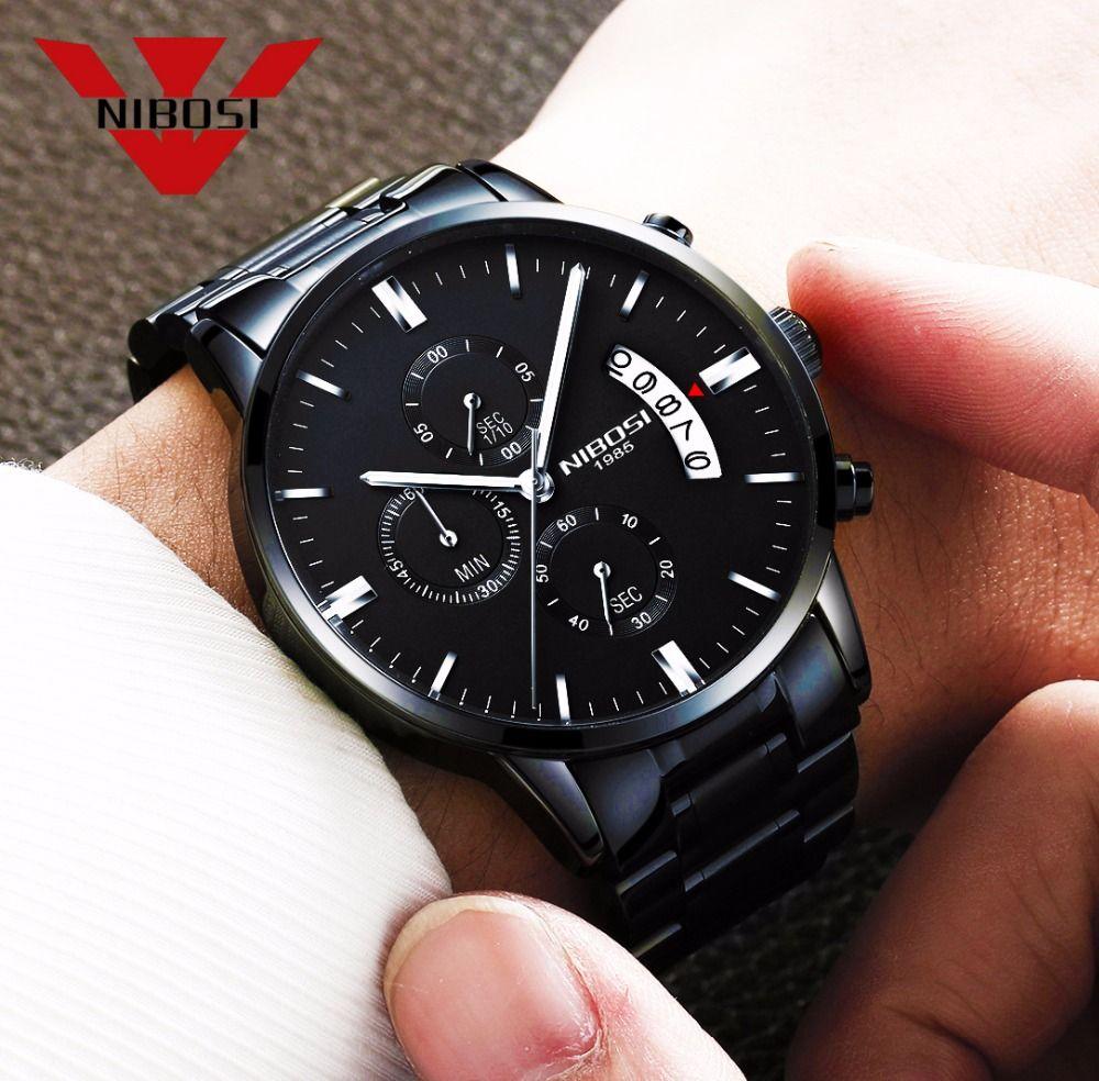 Schwarz Metall Uhr Männer Uhren Luxus Berühmte Top Marke Herrenmode Casual Kleid Uhr Military Quarz Armbanduhren Saat NIBOSI