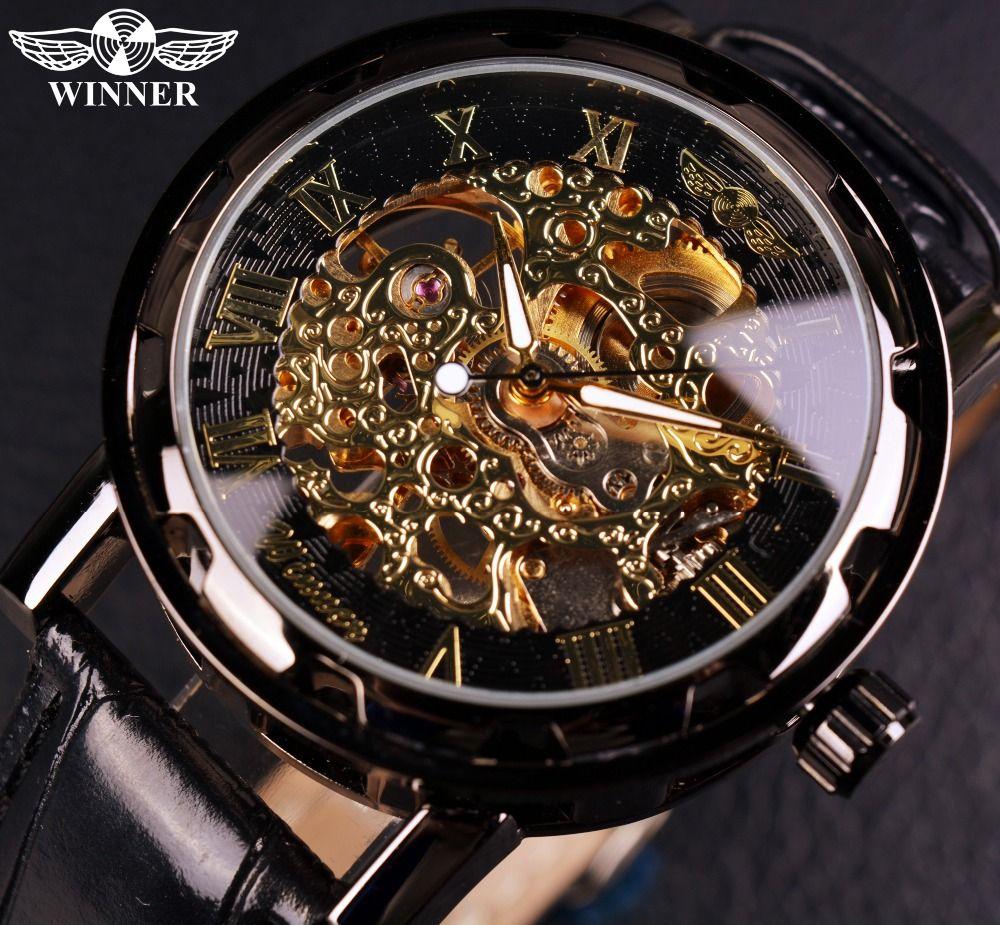 Winner Black Gold Male Clock Men Relogios Skeleton Mens Watches Top Brand Luxury <font><b>Montre</b></font> Leather Wristwatch Men Mechanical Watch