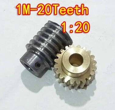 1M-20T  Reduction Ratio:1:20 Copper Worm Gear  Reducer Transmission Parts Gear Hole:5mm Rod Hole:5mm