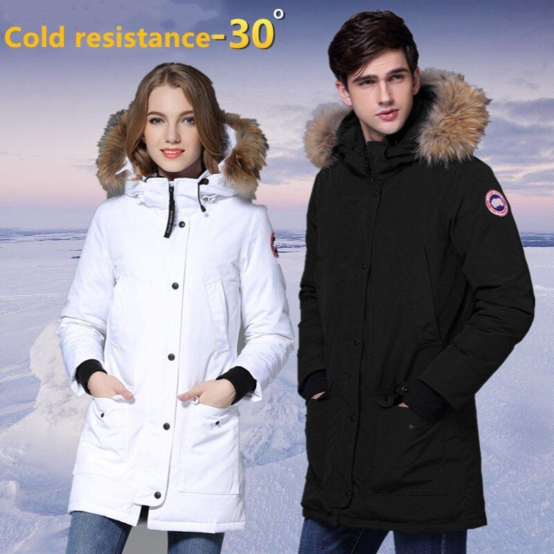 New Arrive Lovers Winter Brand Parka Medium Length White Duck Down Jacket Raccoon Fur Women Quality Down Coat Thicken Coat