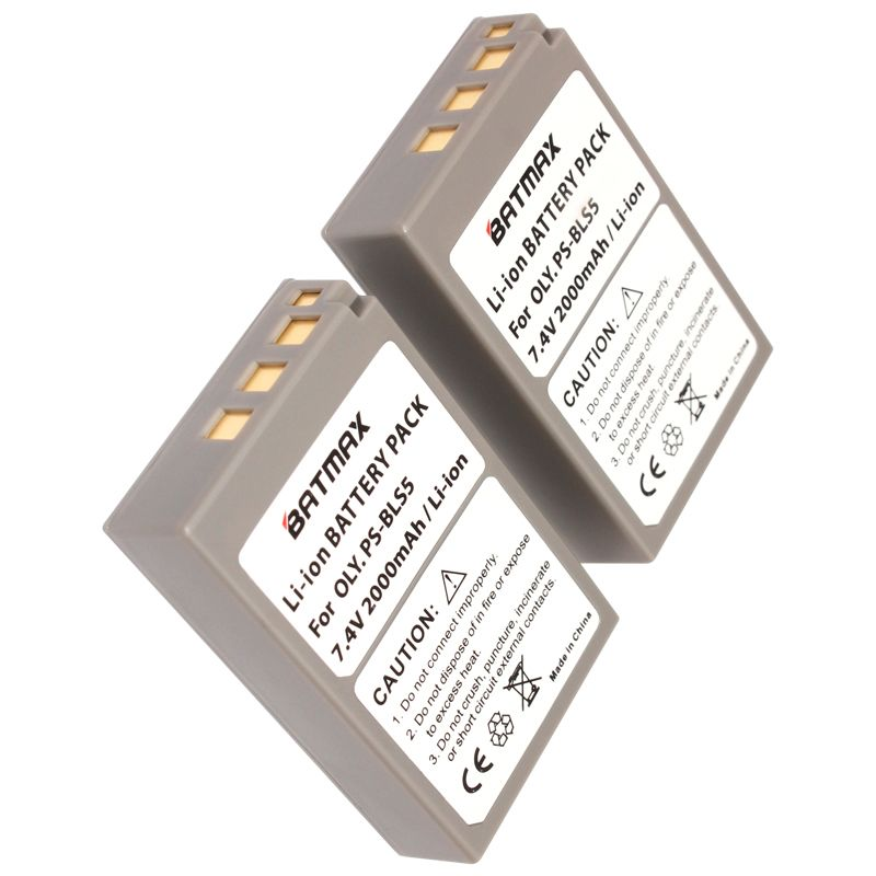 2Pc 2000mAh PS-BLS5 BLS-5 BLS5 BLS-50 BLS50 Battery for Olympus PEN E-PL2,E-PL5,E-PL6,E-PL7,E-PM2, OM-D E-M10, E-M10 II, Stylus1