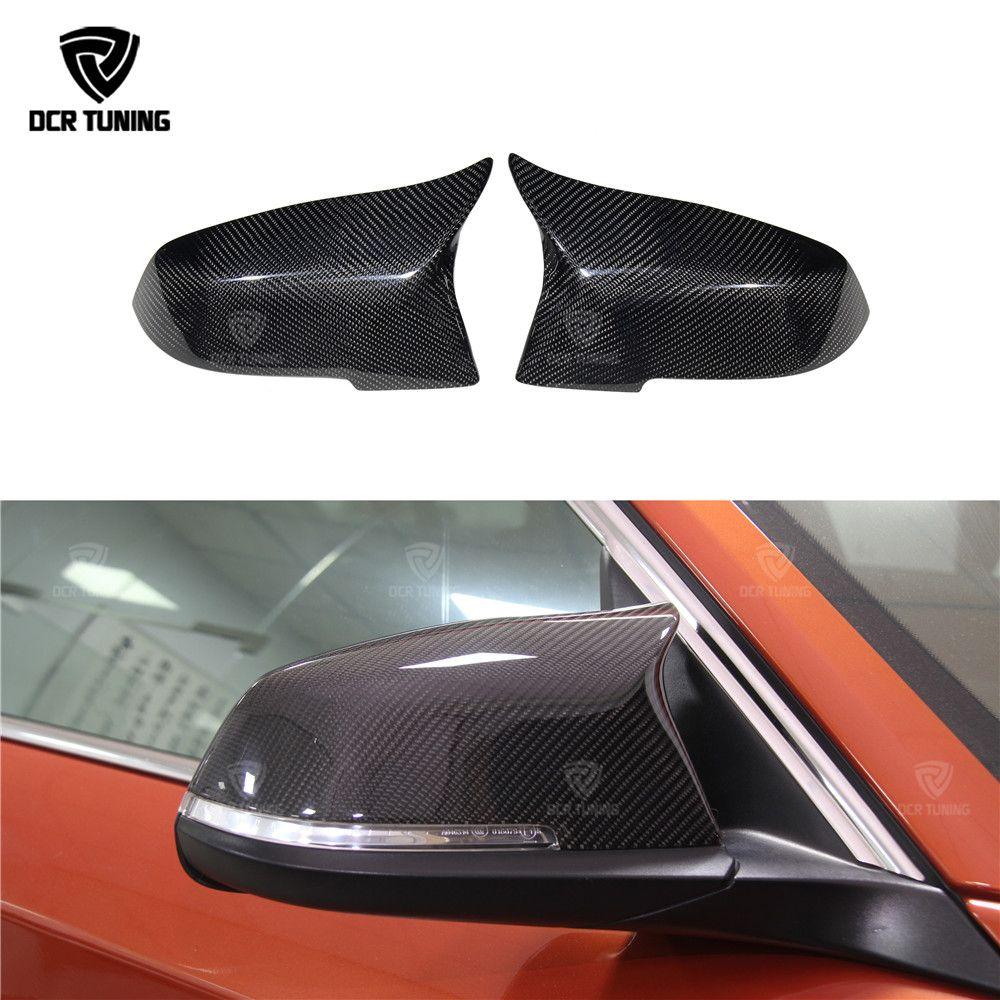For BMW 1 2 3 4 X Series F20 F21 F22 F23 F30 F31 F32 F33 F36 X1 E84 M3 M4 Look Carbon Fiber Rear View Mirror Cover & Gloss black