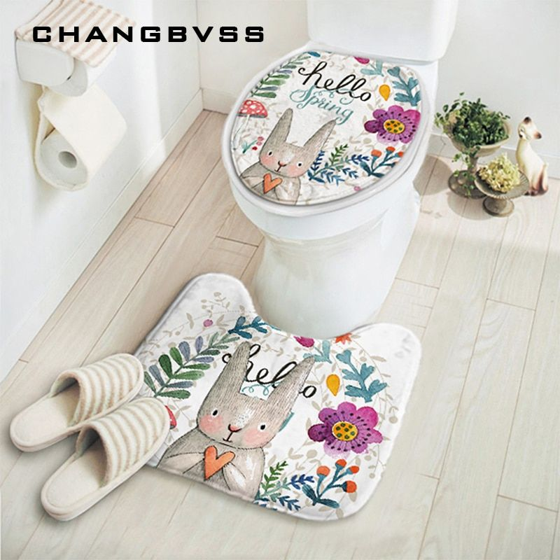2pcs/set New Cut Cartoon Rabbit Animal Pattern Bathroom Set Carpet Absorbent Non-Slip Pedestal Rug Lid Toilet Cover Bath Mat