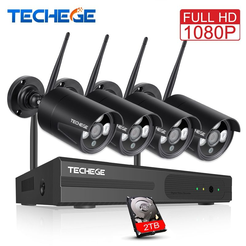 Techege 1080P 4CH Wireless NVR CCTV System 2MP Outdoor Waterproof P2P WiFi IP Camera Waterproof Security Video Surveillance Kit