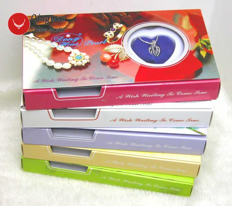 Qingmos 5 boîtes souhaitent perle amour coeur Cage titulaire Chokers collier pour les femmes avec pendentifs collier de perles huître boîte-cadeau-3621