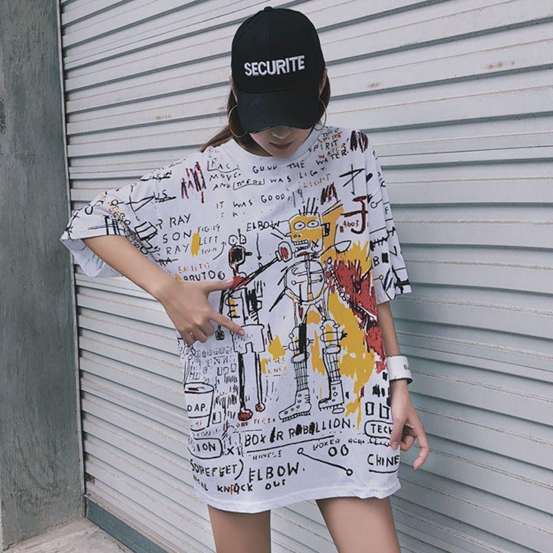 korean lattice big size long T Shirt fashion Summer casual loose Harajuku tops tee Black white stitching Street women T-shirts