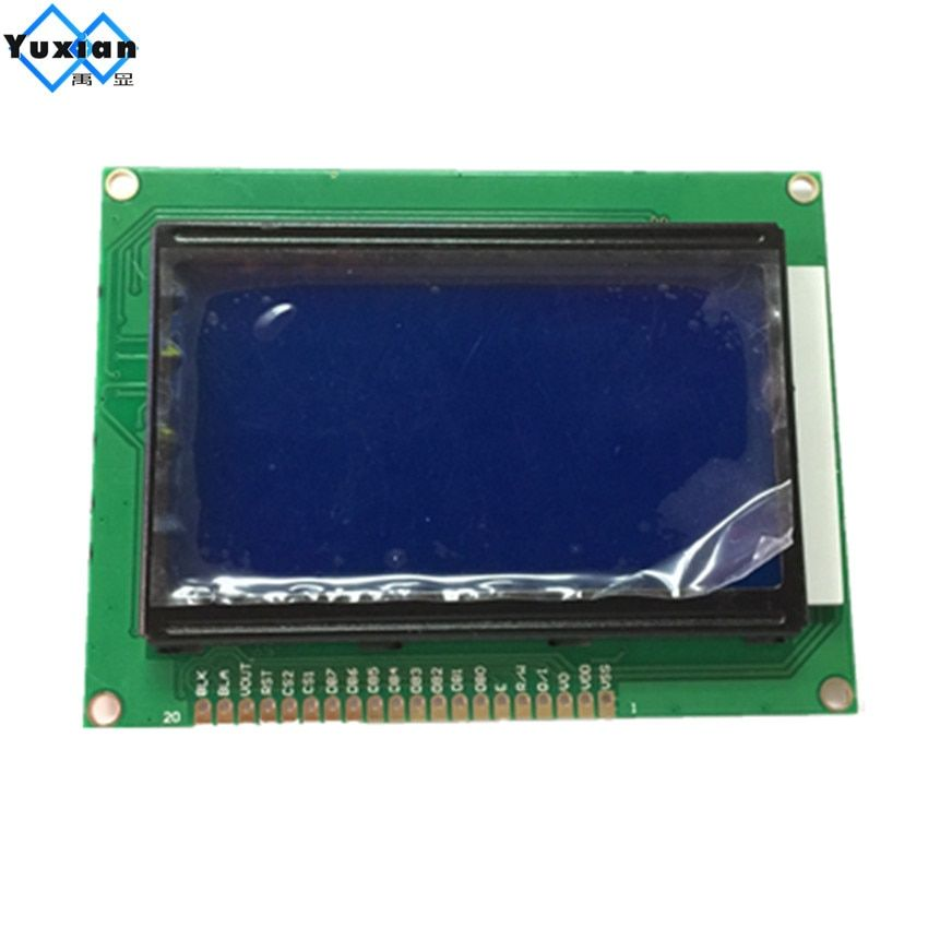 Free shipping 1pcs 12864 lcd display module STN blue screen white backlight 5v standard graphic KS0108 WH12864A size 93*70mm