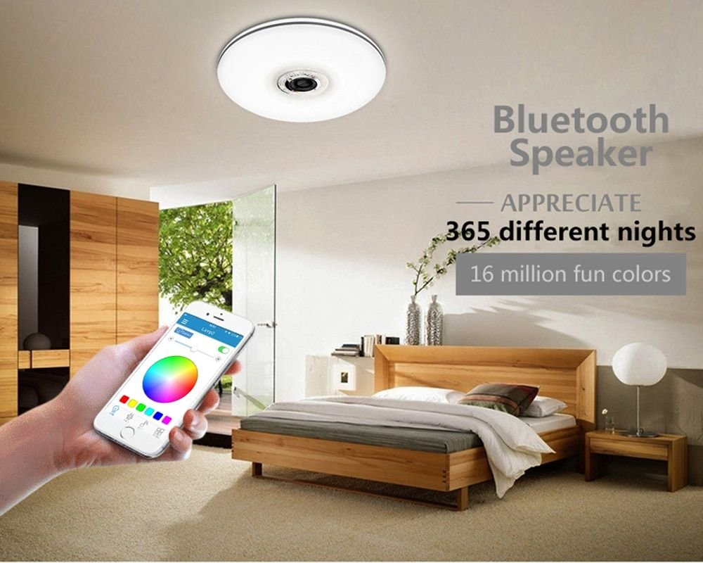 mumeng LED Ceiling Light 32W Living room Music Lamp Bluetooth Speaker Lampara Colorful dimmable Party Art Decoration Lighting