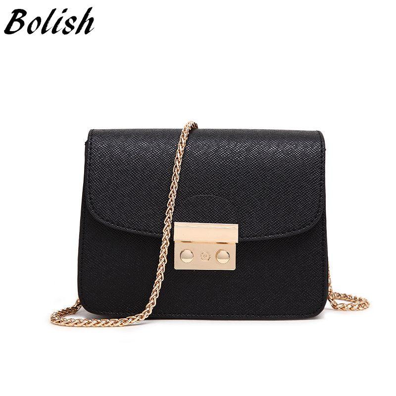 Bolish Mode Schloss Taschen Leder Handtaschen Kette Frauen Umhängetasche Kleine Weibliche Umhängetasche Tag Erfasst