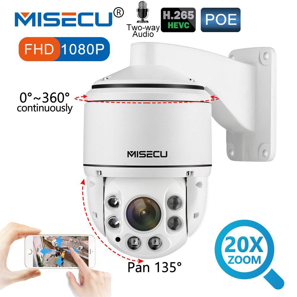 MISECU 1080P PTZ IP POE Camera Outdoor SONY IMX323 Onvif 20X ZOOM Mini Speed Dome Camera 2MP H.265 Audio P2P Security Camera