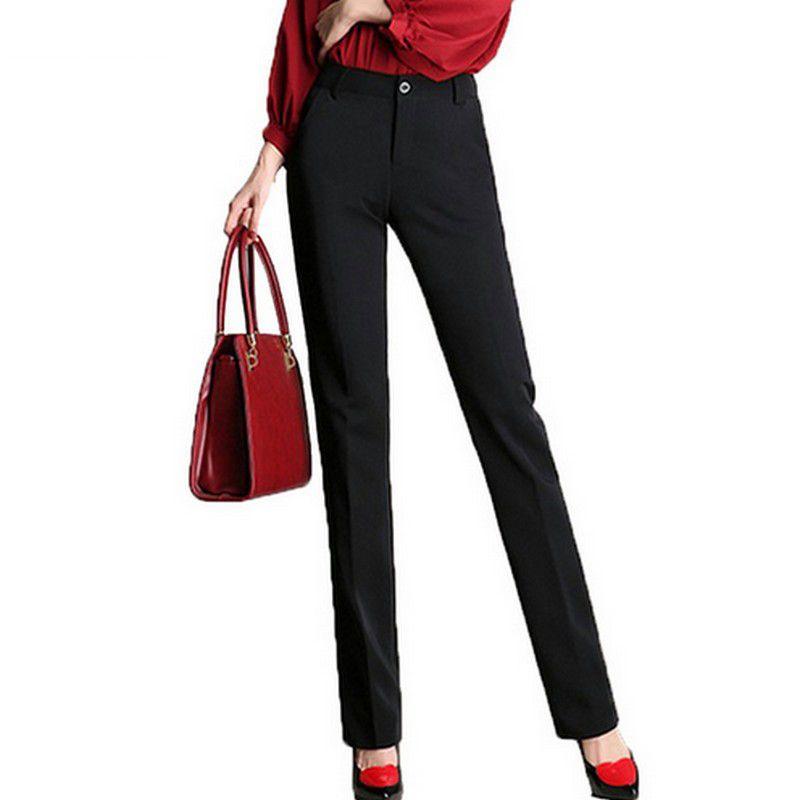 Style formel Pantalon droit S-4XL tout Match taille haute femmes Pantalon Slim grande taille Pantalon 2017 automne solide noir Long Pantalon