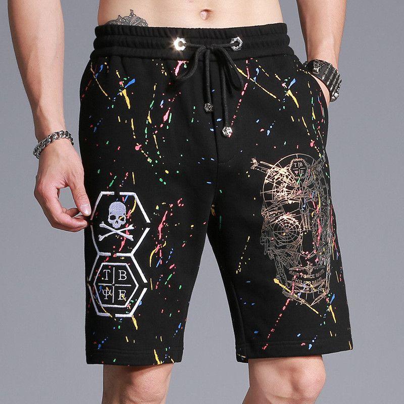 D'été de Crâne Imprimer Casual Shorts Série Hommes Casual pantalons de Survêtement Shorts Coton Joggeurs Lâche Hommes Court Pantalon Hommes de Vêtements