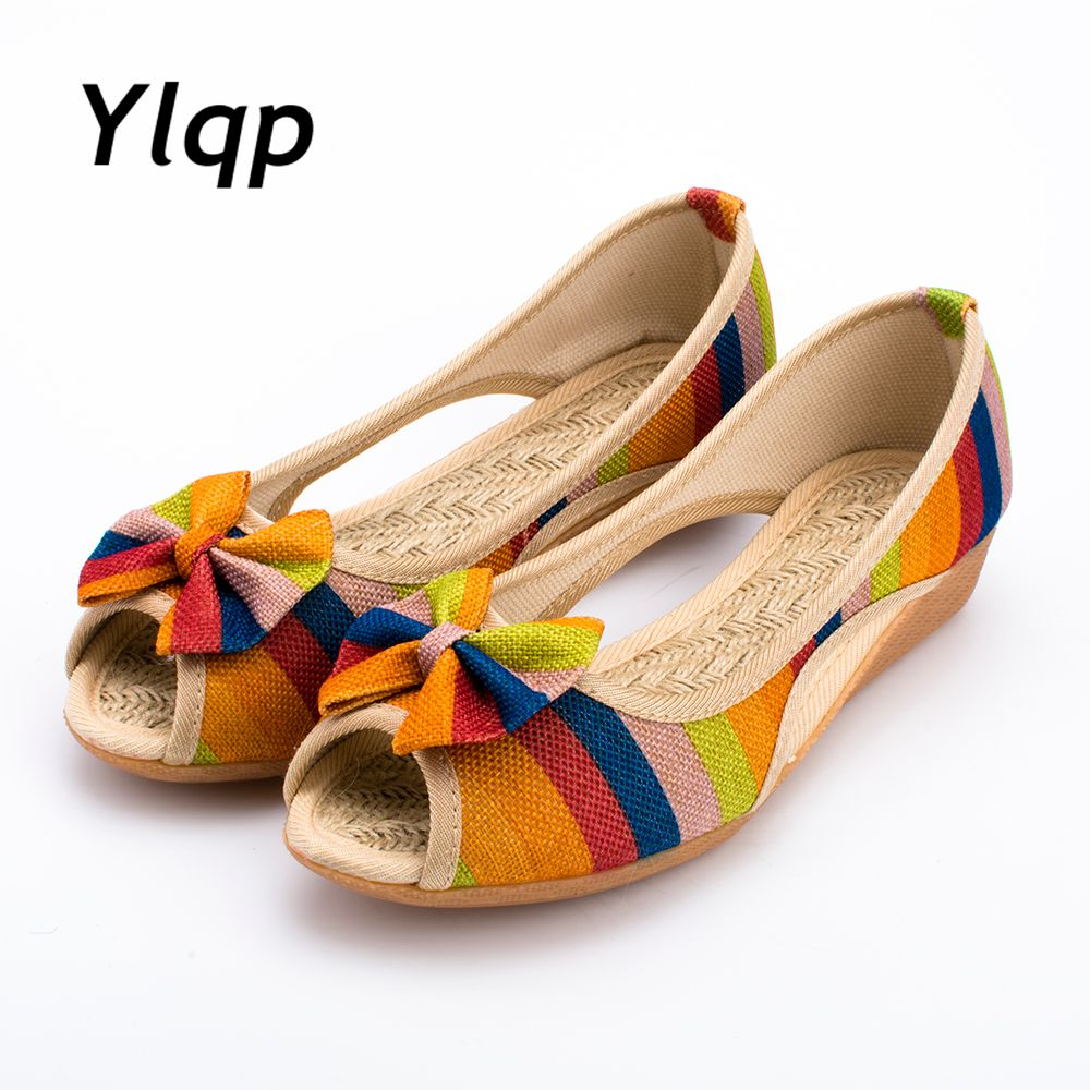 2018 New High Quality Adult Women Sandals Casual Canvas Cloth Lady Toe Slip on Women Shoes High Heel 3 Colors <font><b>Optional</b></font>