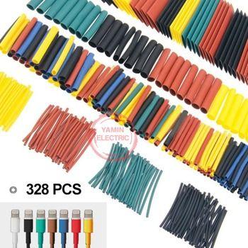 328 Pcs/ensemble Gaines Wrap Fil De Voiture Électrique Câble Tube kits Thermorétractable Tube Tube Polyoléfine 8 Tailles Couleur Mélangée