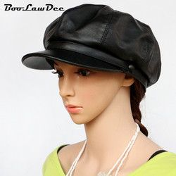 BooLawDee Asli pertama lapisan kulit domba wanita hitam topi tukang koran pelukis topi 56 58 60 cm pemanasan musim dingin rekreasi memakai M652