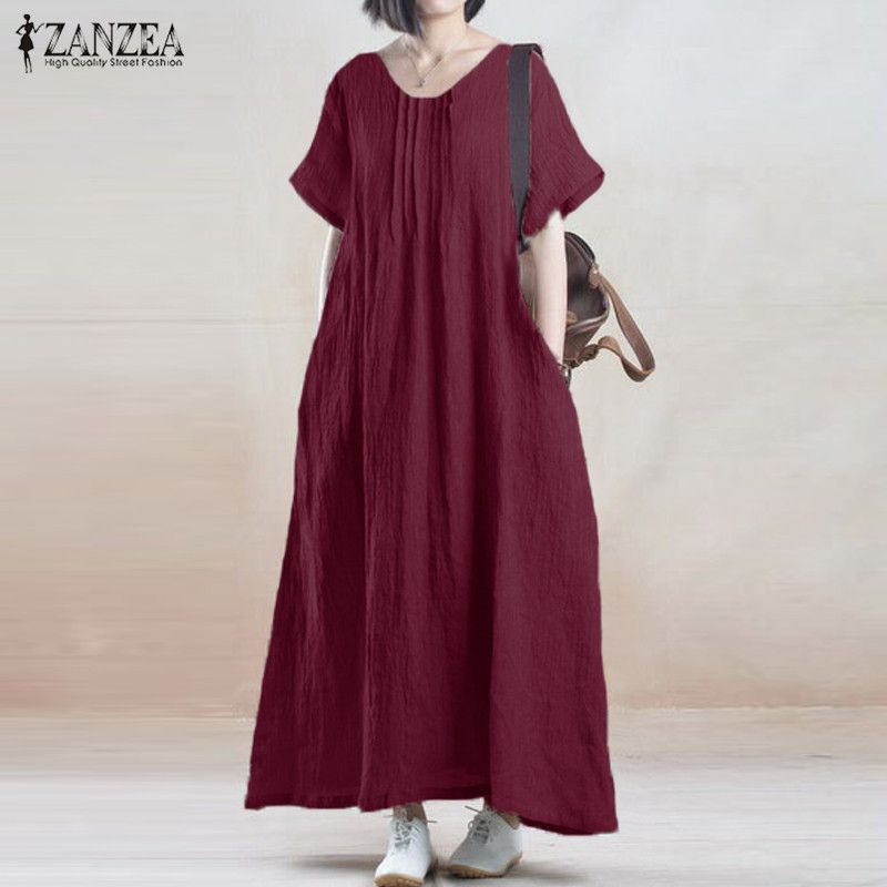 ZANZEA Summer Dress 2018 Women Vintage Casual Loose <font><b>Party</b></font> Robe Long Maxi Dresses Short Sleeve O Neck Cotton Vestidos Plus Size