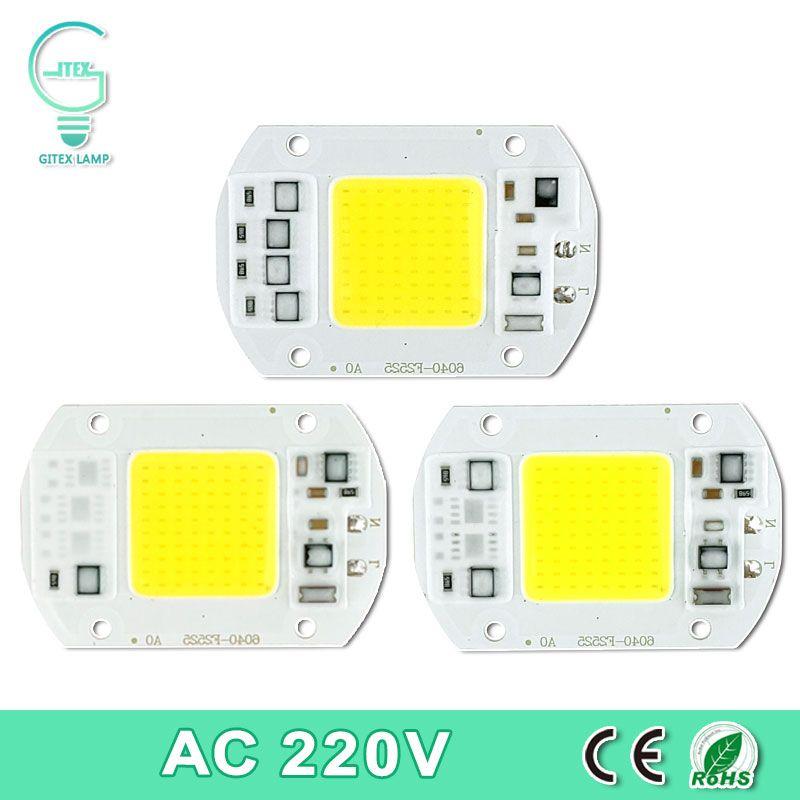 COB LED Lamp Chip Real Power 10W 15W 20W 30W 50W LED Lamp Bulb 220V 240V IP65 Smart IC For DIY LED Flood Light Spotlight
