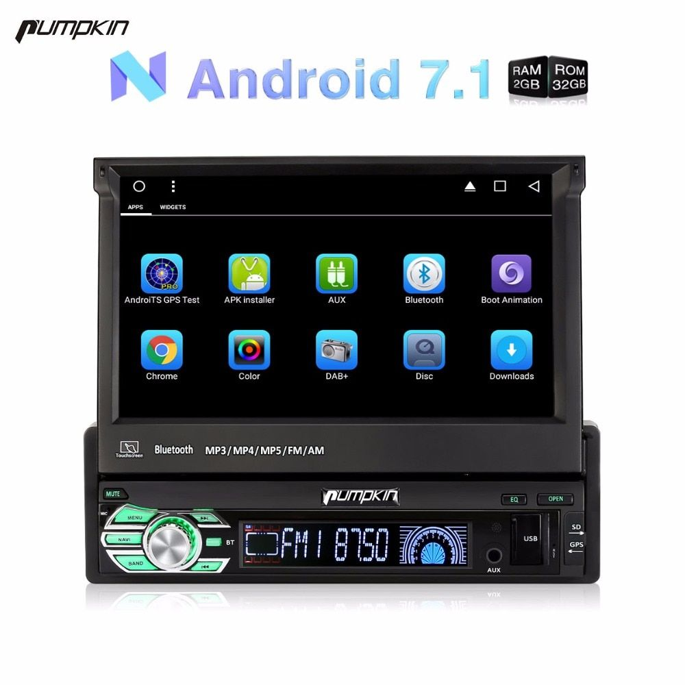 Wholesale! 1 Din 7''Android 7.1 Car Radio No DVD Player GPS Navigation Quad Core 2GB RAM Car Stereo DAB+ Wifi Bluetooth Headunit