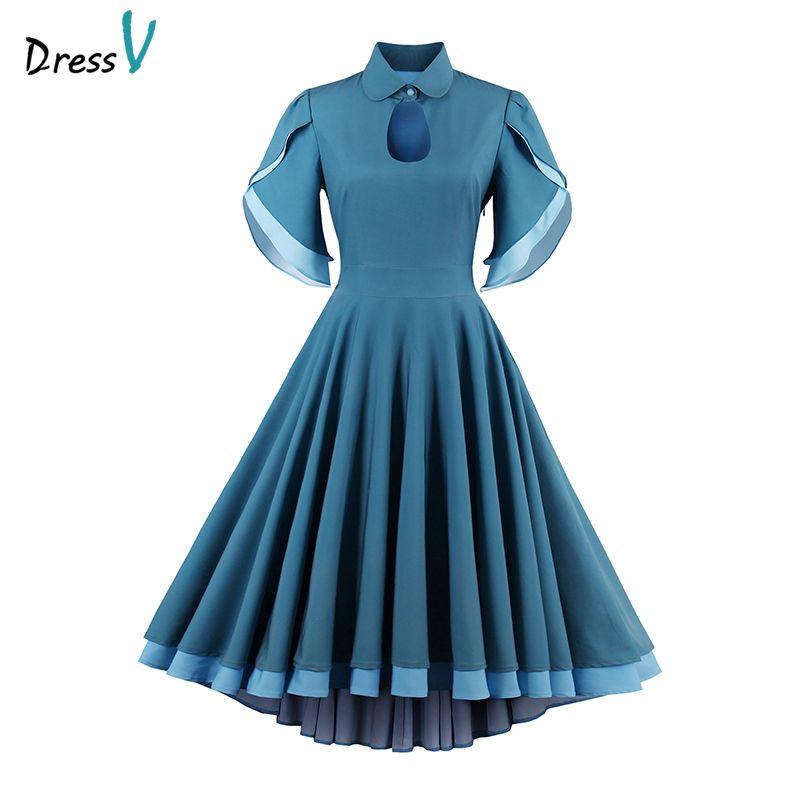 Dressv cheap short cocktail dress a line elegant formal party dress 2017 short sleeves turquoise tea length women cocktail dress