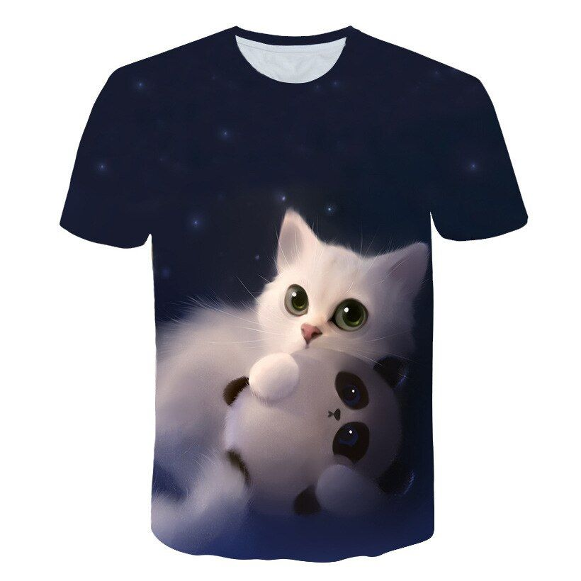 Night cat lady T-shirt women's short sleeves top 3d harajuku Tees top plus size animal T-shirt t shirt women Drop Ship M-5X