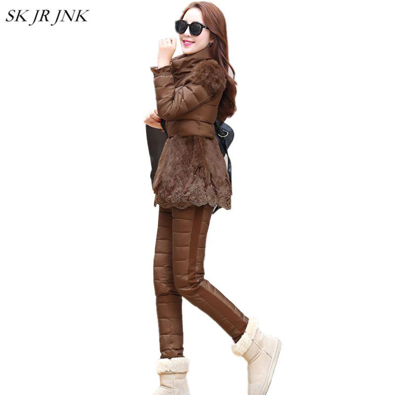 Winter Warm Thicken Women 3 Pieces Sets (Vest+Sweatshirt+Pant) Female Duck Down Suits Casual Slim Fit Coat Lace Fur Jacket LW47