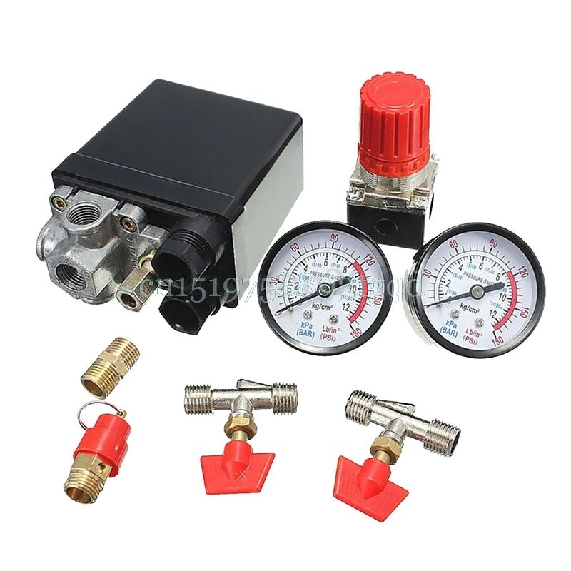 Air Compressor Pressure Valve Switch Manifold Relief Regulator Gauges 120PSI  High Quality 1Pc#T518#
