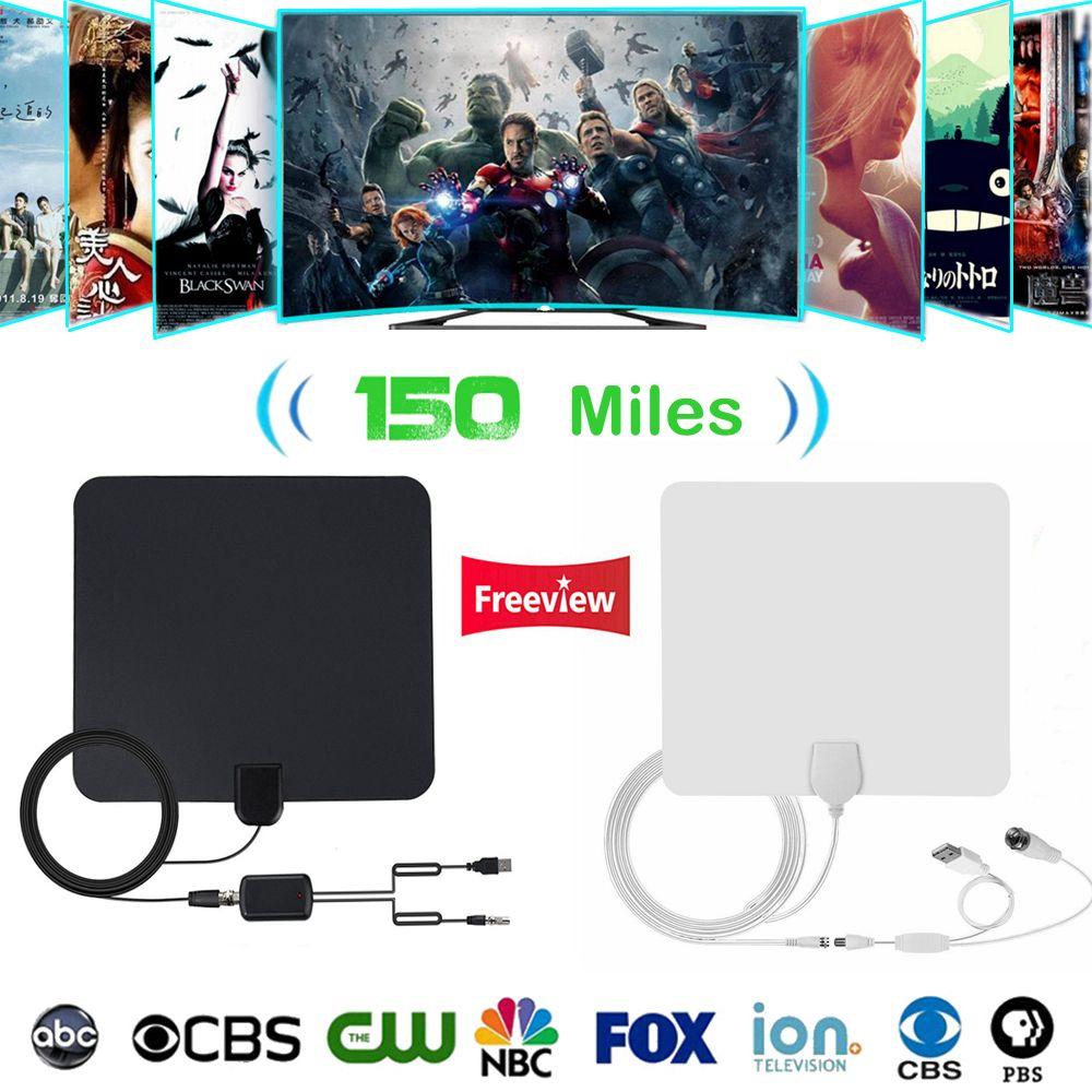 Intérieur TV Antena Numérique HDTV Antenne 150 Miles 4 k HD TV Antennes TDT VHF/UHF DVB-T/T2 ATSC ISDB TV Rayon Renard Antena TV Aérienne