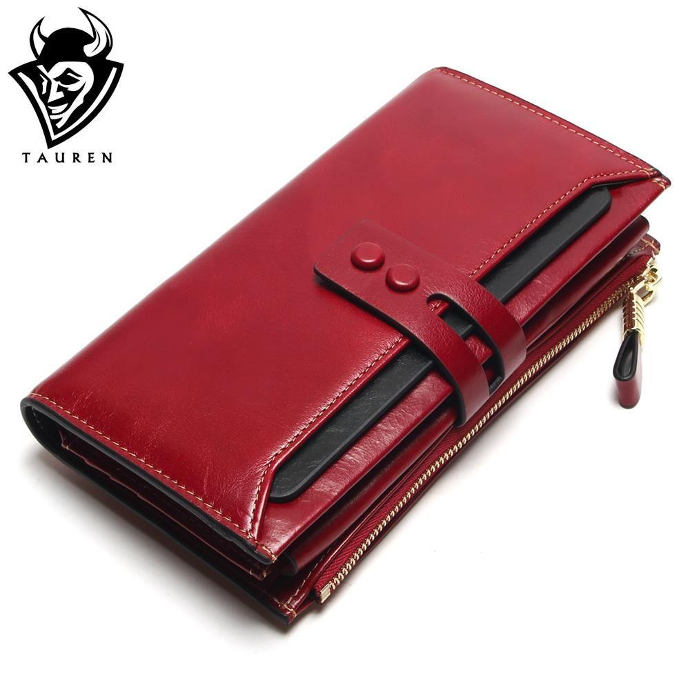 Tauren 2018 New Women Wallets Genuine Leather High Quality Long Design Clutch Cowhide Wallet High Quality Fashion Female Purse